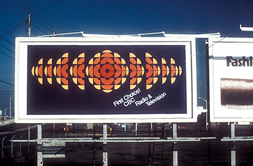 CBC logo by Burton Kramer, on billboard