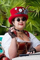 Gaslight Gathering 2011 (Mr. Muggles) Tags: red hat lady costume san cosplay victorian diego smoking filter convention gathering smoker gaslight steampunk filtered 2011