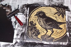 'mockingbird block inked' - craftyhag on Flickr