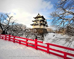 Hirosaki Castle Winter  Glenn Waters (Explored)  20,200 visits to this photo. Thank you. (Glenn Waters in Japan.) Tags: bridge winter red sky white snow building castle history tourism ice japan architecture clouds japanese frozen nikon fort ninja traditional kingdom explore aomori  samurai hirosaki moat fortress    japon edo cherrytrees touhoku  bushi  tsugaru japanesecastle   explored   d700 colourartaward nikond700  glennwaters nikkorafs1424mmf28 flickraward