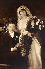Ray + Josephine wedding 1917 (FLgomgom) Tags: old wedding sepia vintage bride wed story grandparents oldphoto geneology 1917
