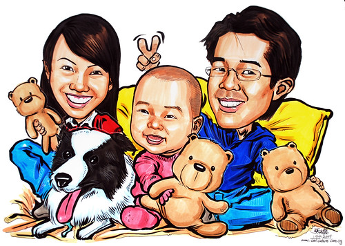 Family caricatures with teddy bears theme