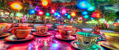 tea cups on a rainy night (big_pixel_pusher) Tags: california classic night lights ride tea disneyland sony spin disney cups teacups tribute anaheim teacup 1980 dca 1980s hdr madhatter fantasyland aliceinwonderland dslra700 bppfoto bigpixelpusher wwwbigpixelpushingcom