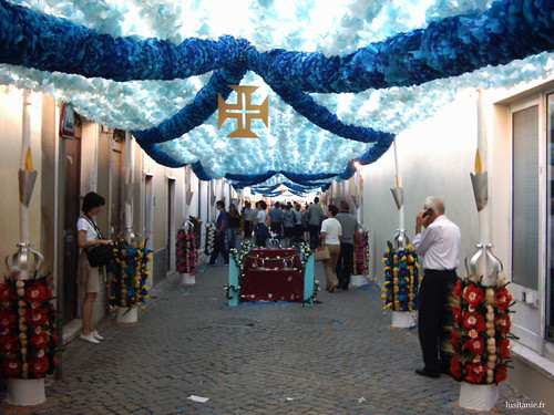 Sur les côtés de cette rue de fleurs, des Tabuleiros en miniature