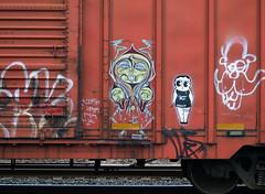 P2089186 TRAIN GAFFITI ART (mrbrown001) Tags: camera red car oregon portland four graffiti paint box thing olympus betty system captain crunch boop 43 thirds e510 deuceseven