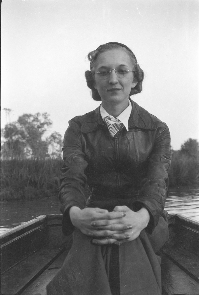 1930s Ekwall - Frances Irene Spencer in a Boat