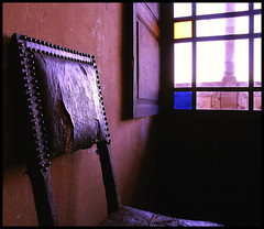 Light on the Past - Luce sul Passato (Andrea Guandalini) Tags: old blue light leather yellow chair darkness blu neglected illumination medieval giallo castello antico medievale soe luce pelle poltrona obscurity medioevale halflight oscurit supershot castela mywinners platinumphoto