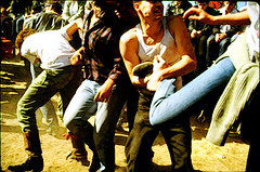 Kicking it in an outdoor mosh pit - Eastern Front, Aquatic Park, Berkeley, 1981 - DOA (p0ps Harlow) Tags: berkeley mosh pit punkrock doa easternfront p0ps