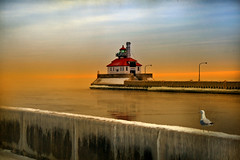 Dawn Appears (karenhunnicutt) Tags: sea lighthouse water minnesota sunrise boats dawn lakes bridges waterfalls fountains duluth duluthharbor bysea karenmeyere karenhunnicutt karenmeyer karenhunnicuttphotography karenhunnicuttphotographycom orifbysea