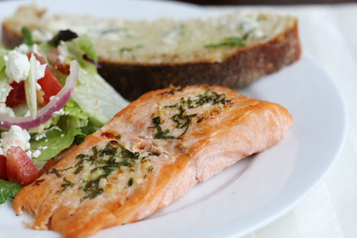 Salmon with Basil-Lemon-Garlic Butter