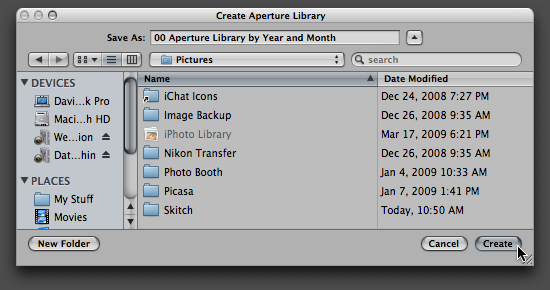 Step 03 -- Create a new, empty Aperture Library