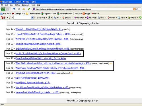 Rawlings Machine tix on Craigslist
