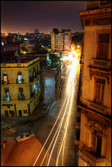 Floridita from above (Kaj Bjurman) Tags: above cars night buildings dark eos restaurant pub traffic havana cuba trails 5d habana havanna hdr kaj mkii markii floridita hemmingway flickrsbest bjurman