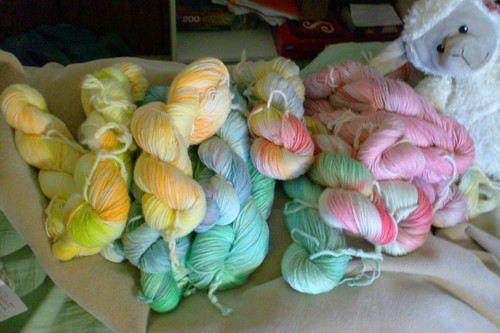 Hand dyed sock yarn and stuffed sheep