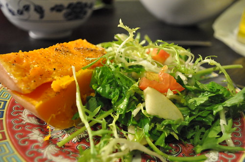 roasted butternut squash with pear arugula frisée with garlic lemon vinegrette dressing