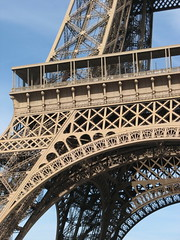 120 years of the Eiffel Tower (Katie-Rose) Tags: paris france metal stairs iron eiffeltower bluesky explore champdemars lifts katierose gustaveeiffel 120years canonpowershota700 fbdg worldstallesttoweruntil1930 1047fttall