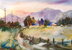Watercolour:...Austria a beautiful country... (Nadia Minic) Tags: landscape austria interestingness aquarelle watercolour luxembourg paysage landschaft autriche oesterreich lenningen nadiaminic nadiaart