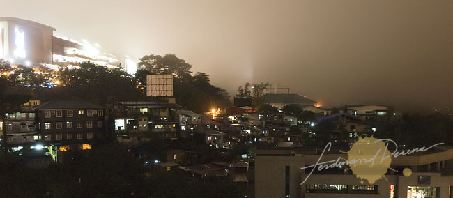 The City lights of Baguio under the mist
