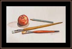 framed at last (Nancy Rose) Tags: art apple pencil watercolor painting brushes framedinpicnik photoofmypainting