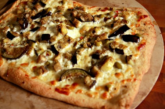 Eggplant and Green Olive Pizza
