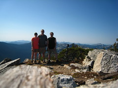 Allison, Cole and Caleb on the summit of Parker Peak, Selkirk Mountains, North Idaho.