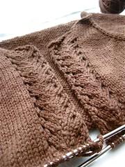 detail of lace panel. ({ philistine made }) Tags: classical cardigan elsebethlavold handknitting chicknits topdownraglan fall2009 basichoodie fallsweaterknitting