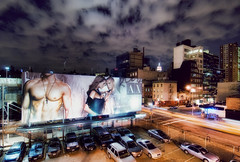 put a shirt on (mudpig) Tags: park nyc newyorkcity longexposure newyork man pecs night geotagged model bare chest billboard advert dri highline mudpig stevekelley