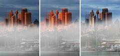 Morning moods ...... (Bruce Kerridge) Tags: city morning blue light sky panorama sun mist building fog clouds sunrise skyscape landscape gold dawn interesting sydney australia