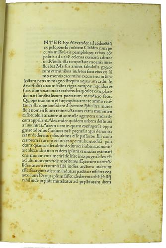 Opening page of text in Curtius Rufus, Quintus: Historia Alexandri Magni