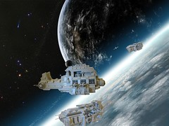 Ships In Orbit (ABS doohickies) Tags: plane fighter lego space air cop aricraft