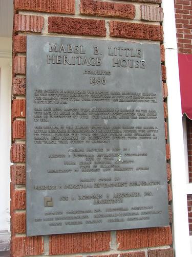 Plaque for Mabel B. Little Heritage House, Greenwood Cultural Center, Tulsa