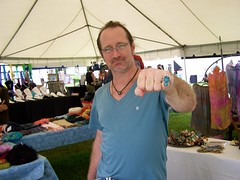 Paul  Pearman and his new ring (leespicedragon) Tags: show park original art fall graveyard silver dayofthedead skull centennial 3d tn nashville designer handmade turquoise oneofakind ooak craft fair jewelry carving nativeamerican master craftsman opal forged lapidary taca crafted eldadelosmuertos marvinleebillings firehammer