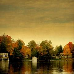slipping gently into Fall (Maureen F.) Tags: autumn lake reflection fall texture colors still muskoka boathouse cottages lakemuskoka idream texturefromborealnz texturefromlesbrumes yourwonderland magicunicornverybest magicunicornmasterpiece