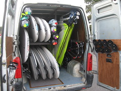 All the Goya, RRD & Amex windsurfing equipment ready for action