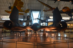 Steven F. Udvar-Hazy Center: SR-71 Blackbird (tail view) (Chris Devers) Tags: plane airplane virginia smithsonian dulles unitedstates aircraft jet va corsair airforce fairfax lockheed usaf blackbird nationalairandspacemuseum sr71 coldwar dullesairport chantilly airandspacemuseum sr71blackbird spyplane supersonic udvarhazy smithsonianinstitution p40 stevenfudvarhazycenter kellyjohnson reconnaissance sr71a speedrecord stevenfudvarhazy f4ucorsair eyefi p40warhawk clarencejohnson curtissp40warhawk voughtf4ucorsair exif:exposure_bias=0ev exif:exposure=0017sec160 exif:focal_length=18mm exif:aperture=f40 camera:make=nikoncorporation exif:flash=offdidnotfire exif:iso_speed=560 camera:model=nikond7000 flickrstats:favorites=1 exif:orientation=horizontalnormal exif:vari_program=autoflashoff exif:lens=18200mmf3556 exif:filename=dsc9846jpg exif:shutter_count=11346 meta:exif=1350345897
