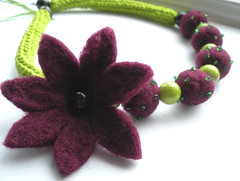 crochet and felt flower necklace