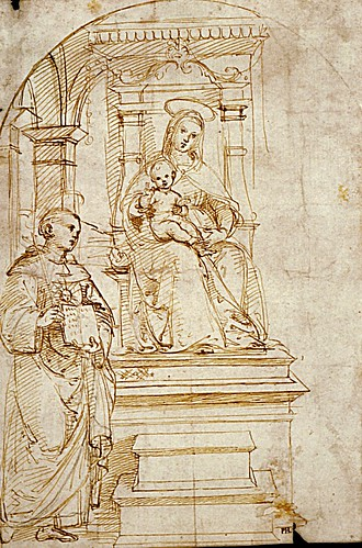 1504  Raphael    Study for a Virgin and Child enthroned with Saint Nicholas of Talentino  Pen and Brown ink  23x15,5 cm  Frankfurt, Stäselsches Kunstinstitut