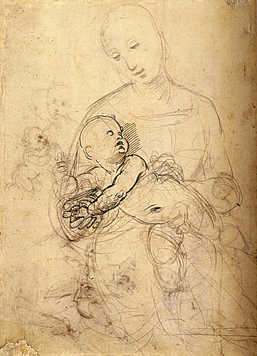 1507  Raphael    Studies of The Virgin and Child  Pen and brown Ink  26,2x19 cm  Londres, British Museum