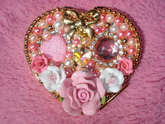 ★Hand Made Pinky Compact Mirror1★ (Pinky Anela) Tags: pink white flower japan japanese gold mirror ribbon pearl