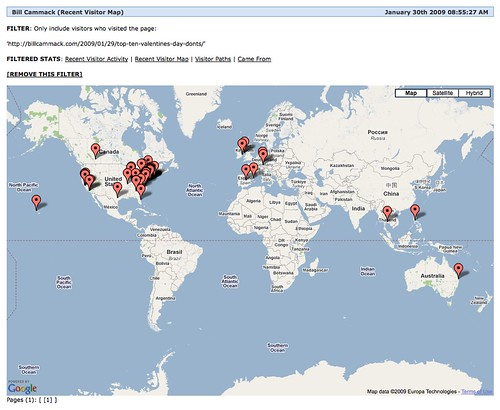 Recent Visitor map for Lindsey Chen & Bill Cammack's article: 'Top Ten Valentine's Day DON'Ts!'
