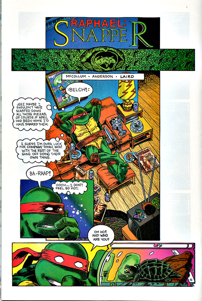 """Raphael : Snapper""   by Rick McCollum  with Tom Anderson and Peter Laird  { Turtle Soup #2 } pg.1  (( December 1991 ))"