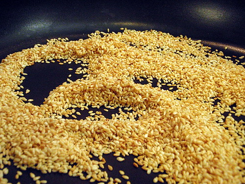 Toasting the sesame