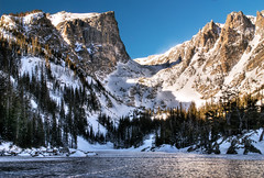 Dream Lake - Rocky Mountain National Park (HRD) (wboland) Tags: winter usa lake ice landscape frozen nikon colorado january photograph d200 2009 hdr rockymountainnationalpark dreamlake hallettpeak