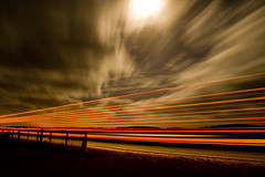 Heavens and Highways (picturesbysteve) Tags: road sky moon lines night clouds truck canon fence stars 350d rebel xt lights coast movement highway midwest trails australia paintingwithlight wa lighttrails batavia rebelxt 1855 bitumen westernaustralia roadtrain geraldton eosdigitalrebelxt dongara ashotadayorso fabcap skyascanvas flickrlovers benttreephotospot