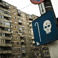 Have a look! (ole) Tags: street building sign europe romania soviet bucharest bucuresti bucarest
