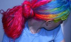 Rainbow hair! (wisely-chosen) Tags: selfportrait me february 2009 picnik rainbowhair manicpanichothotpink manicpanicatomicturquoise manicpanicredpassion semipermanenthaircolorcream manicpanicbadboyblue manicpaniclielocks manicpanicelectricbanana