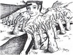 gigante cruza el lago (lucasmercado) Tags: art ink giant lago artwork arboles arte camino paisaje giants papel parana montaa gigante obra poetica tinta arroyo ilustracion tiempo ilustracin cuaderno artecontemporaneo poeticas lucasmercado