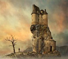 the safehouse (Mattijn) Tags: castle rock cat fantasy hoody photomontage chteau photoart mattijn safehouse magicrealism mattepainting