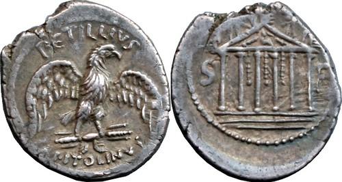 487/2 #9853-37 PETILLIVS CAPITOLINVS Eagle thunderbolt Temple Denarius