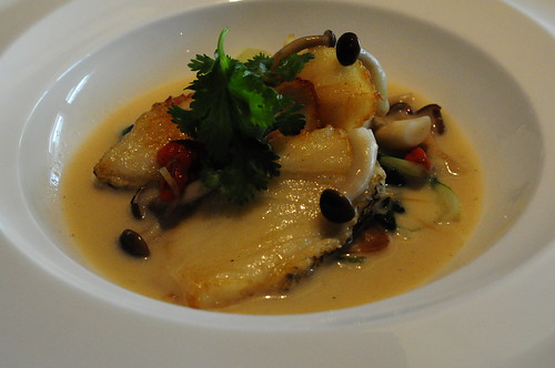 Pan-Fried Chilean Sea Bass with Wolfberries, Honshimeji Mushrooms & Shark Cartilage Sauce